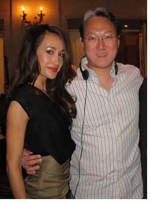 "Maggie Q and Albert Kim on the set of ""Nikita"""