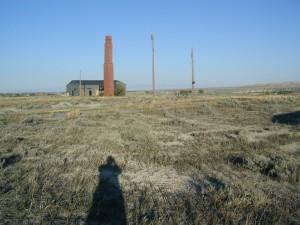 Barrack and smokestack