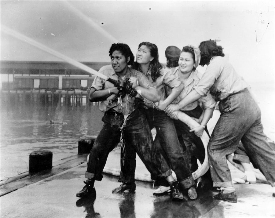 Women firefighters at Pearl Harbor