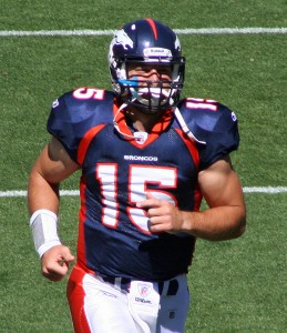 The Broncos' Tim Tebow (Photo by Jeffrey Beall)