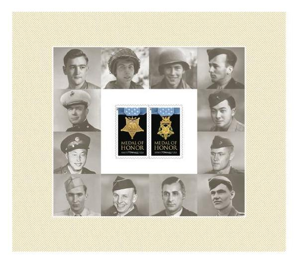 Denver's Medal of Honor recipient Joe Sakato is second from the bottom on the left; the late Hawaii Sen. Daniel Inouye is second from the top on the right. (Courtesy USPS)