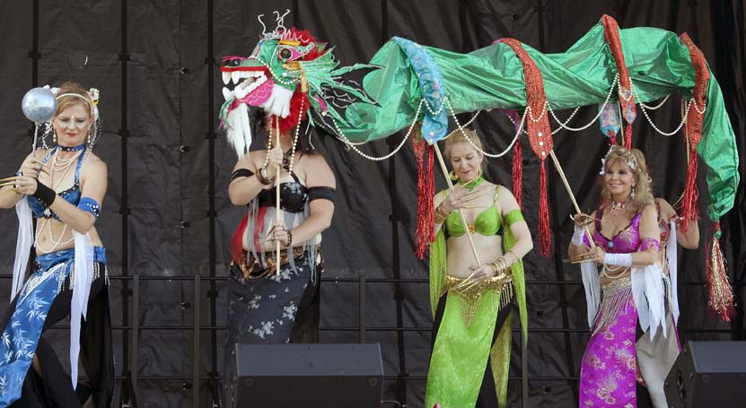 This group performed a combination Middle Eastern belly dance and a Chinese dragon dance together at a festival. No, it was NOT authentic on either count.