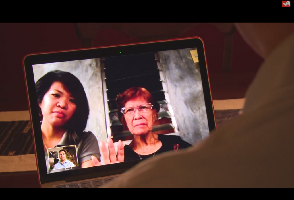 Leo Duran speaks to his mother in the Philippines using Internet technology.
