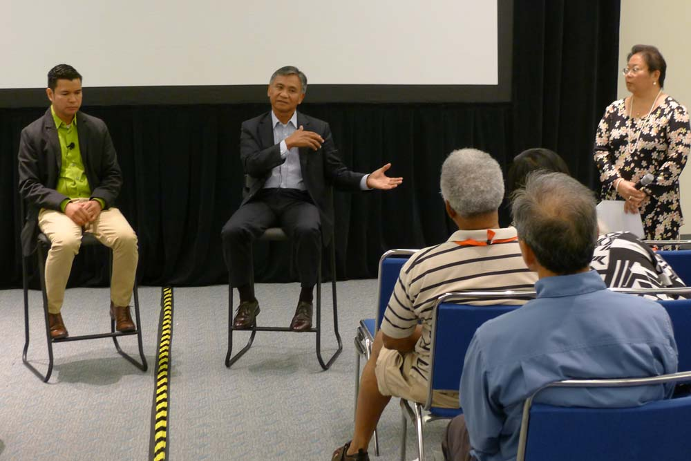 Leo Duran (from left), Gen. Anthony Taguba and Daphne Kwok, AARP VP of Multicultural Markets and Engagement, field questions from the audience following the screening of the documentary.